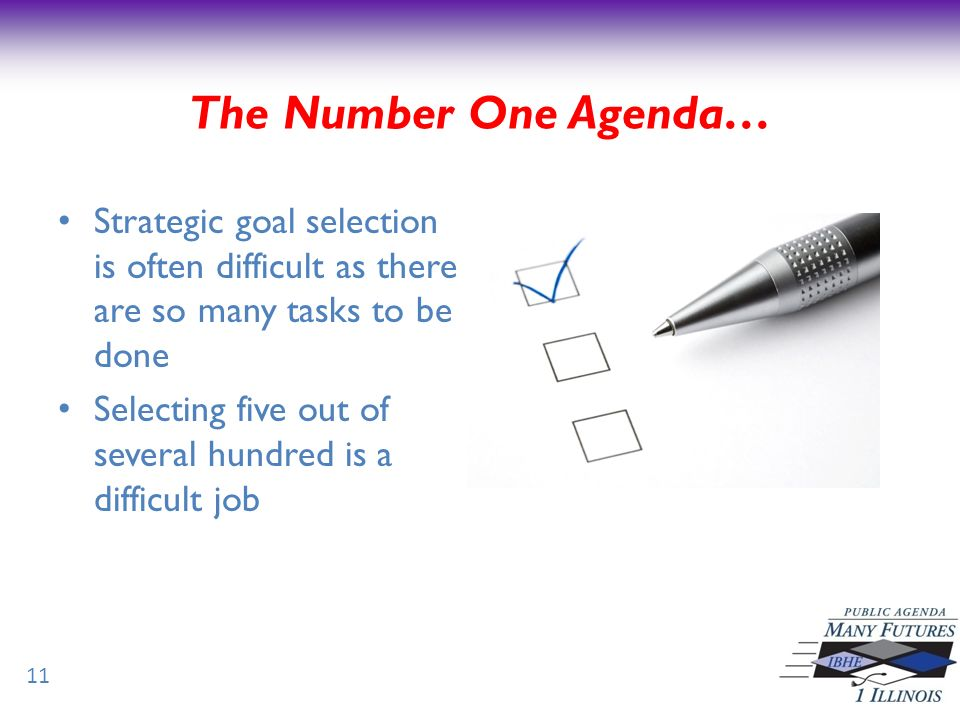 Strategic goal selection is often difficult as there are so many tasks to be done Selecting five out of several hundred is a difficult job 11