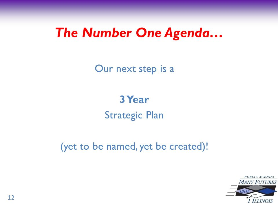 Our next step is a 3 Year Strategic Plan (yet to be named, yet be created).