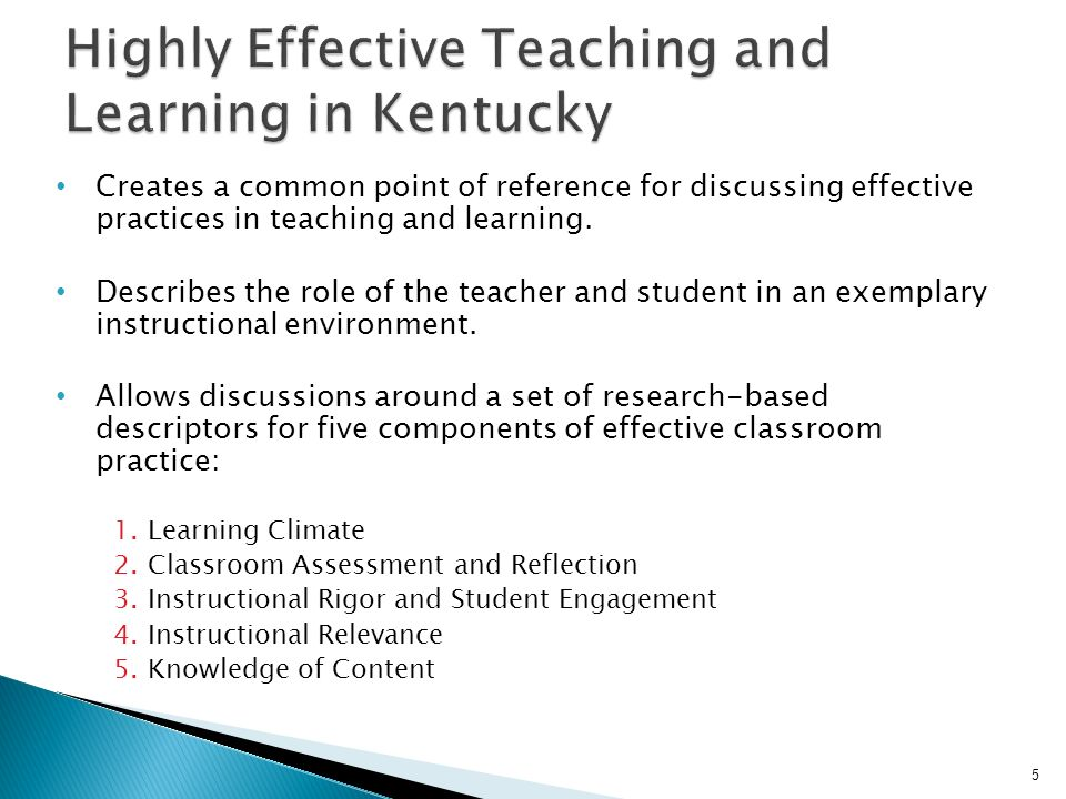 Creates a common point of reference for discussing effective practices in teaching and learning. Describes the role of the teacher and student in an e