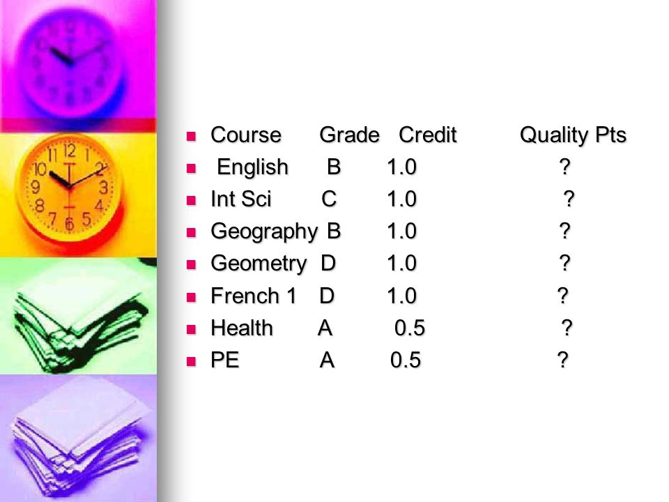 CourseGrade CreditQuality Pts CourseGrade CreditQuality Pts English B1.0 .
