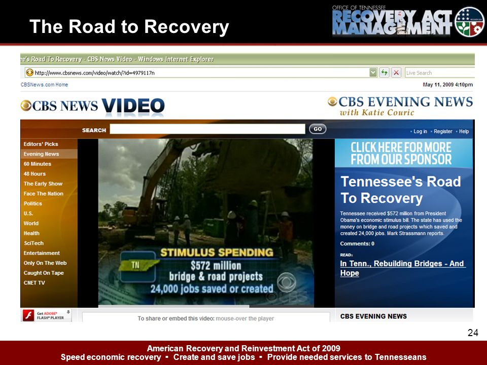 American Recovery and Reinvestment Act of 2009 Speed economic recovery Create and save jobs Provide needed services to Tennesseans The Road to Recovery 24