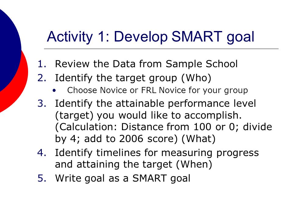 Activity 1: Develop SMART goal 1.Review the Data from Sample School 2.Identify the target group (Who) Choose Novice or FRL Novice for your group 3.Identify the attainable performance level (target) you would like to accomplish.