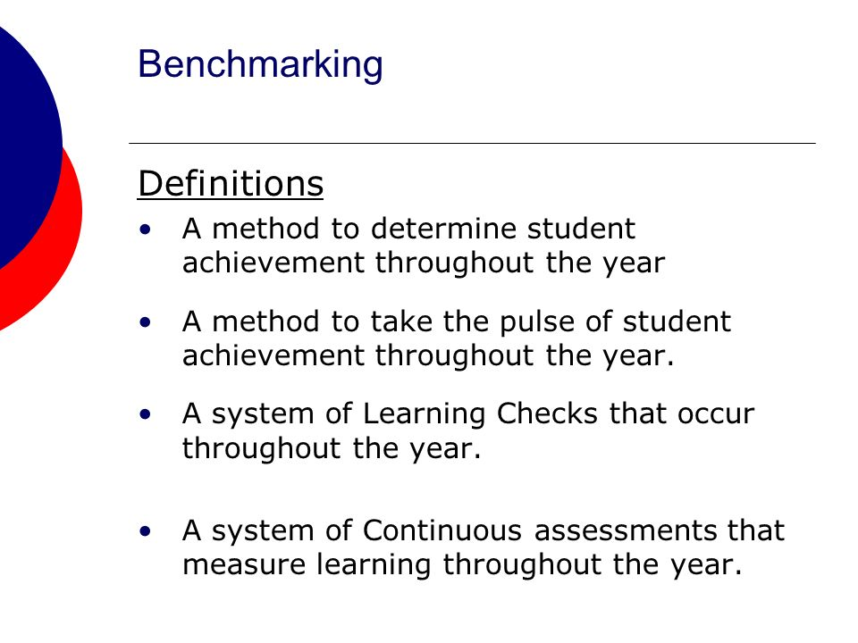 Benchmarking Definitions A method to determine student achievement throughout the year A method to take the pulse of student achievement throughout the year.