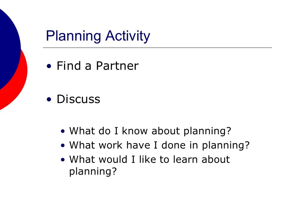 Planning Activity Find a Partner Discuss What do I know about planning.