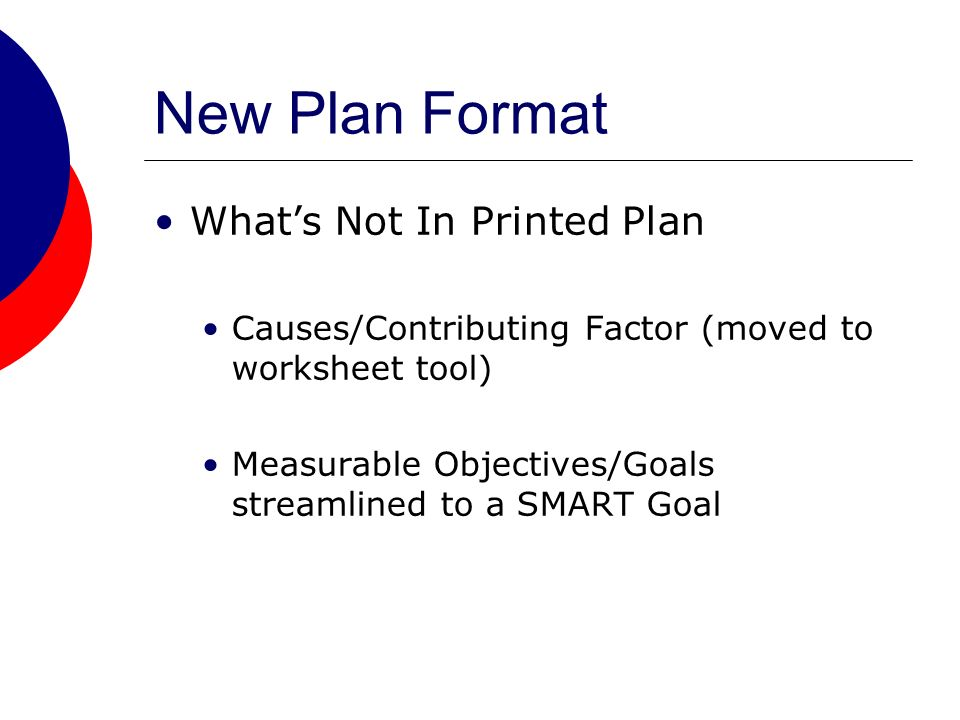 New Plan Format Whats Not In Printed Plan Causes/Contributing Factor (moved to worksheet tool) Measurable Objectives/Goals streamlined to a SMART Goal