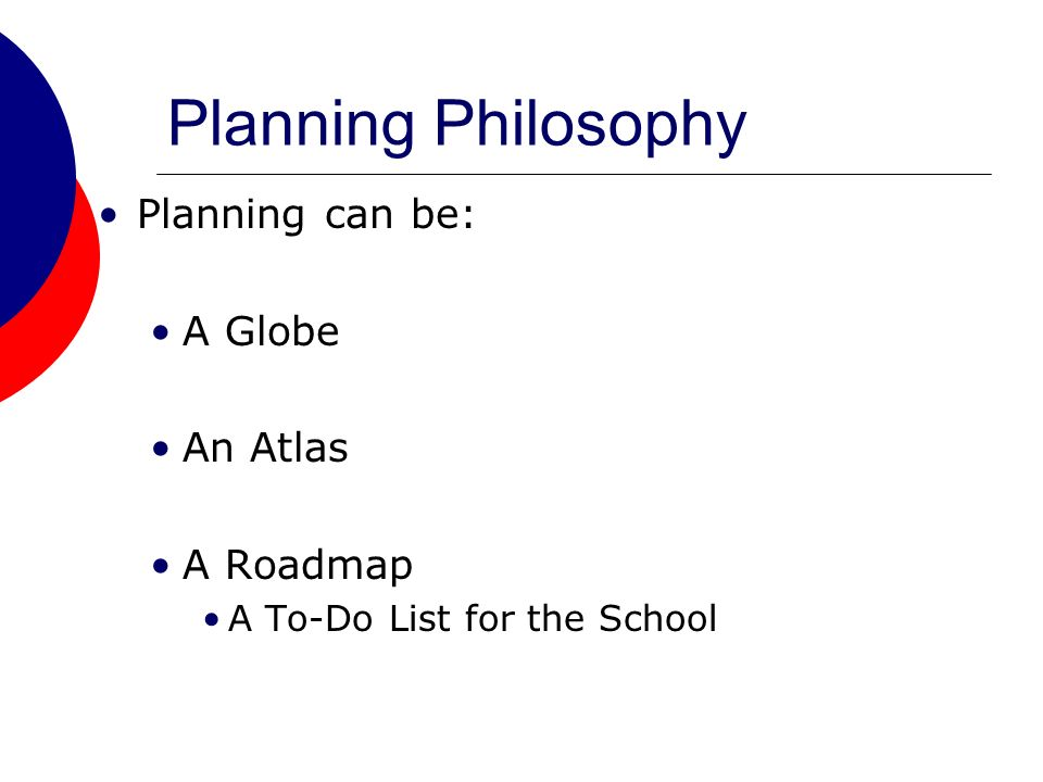 Planning Philosophy Planning can be: A Globe An Atlas A Roadmap A To-Do List for the School