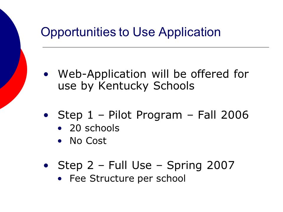 Opportunities to Use Application Web-Application will be offered for use by Kentucky Schools Step 1 – Pilot Program – Fall 2006 20 schools No Cost Step 2 – Full Use – Spring 2007 Fee Structure per school