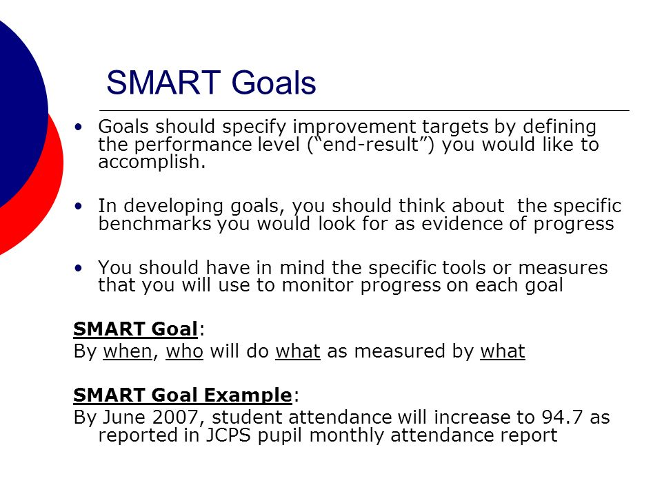 SMART Goals Goals should specify improvement targets by defining the performance level (end-result) you would like to accomplish.