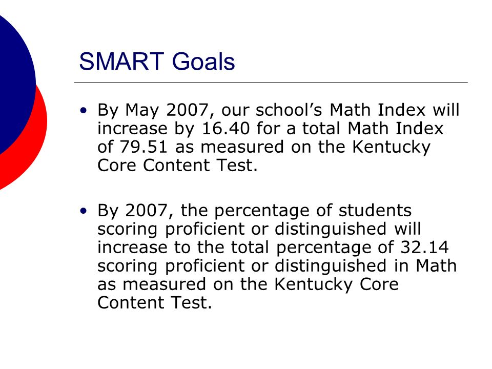 SMART Goals By May 2007, our schools Math Index will increase by 16.40 for a total Math Index of 79.51 as measured on the Kentucky Core Content Test.