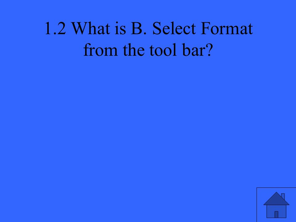 1.2 What is B. Select Format from the tool bar?