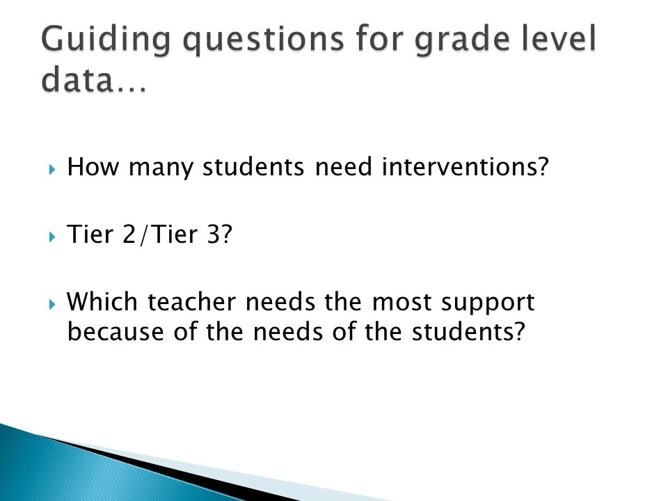 How many students need interventions? Tier 2/Tier 3? Which teacher needs the most support because of the needs of the students?