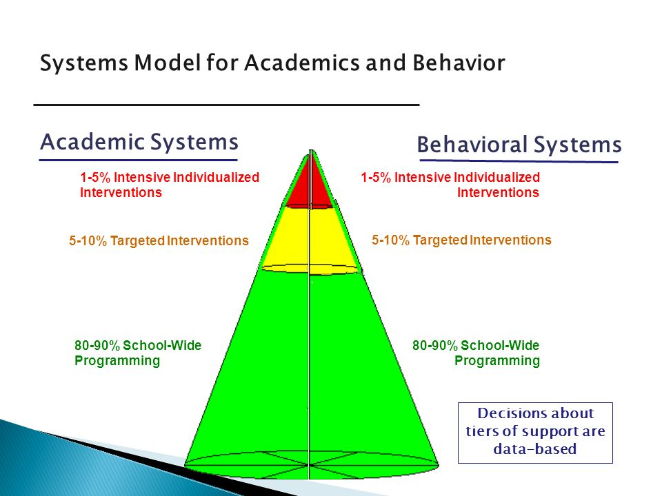 Systems Model for Academics and Behavior Academic Systems Behavioral Systems 5-10% Targeted Interventions 1-5% Intensive Individualized Interventions 80-90% School-Wide Programming Decisions about tiers of support are data-based