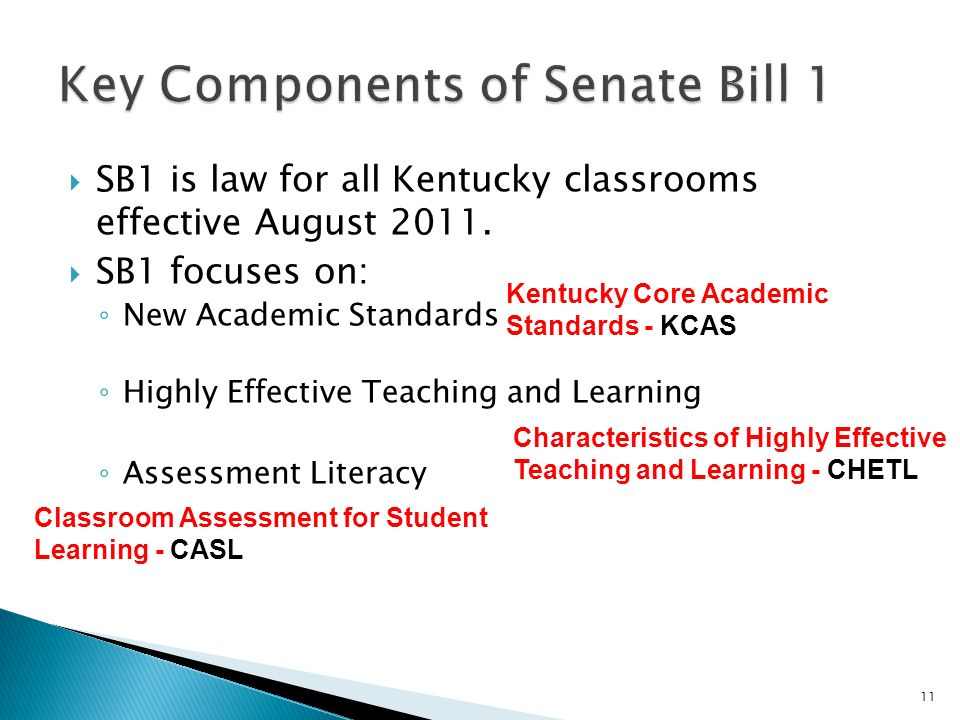 SB1 is law for all Kentucky classrooms effective August 2011. SB1 focuses on: New Academic Standards Highly Effective Teaching and Learning Assessment