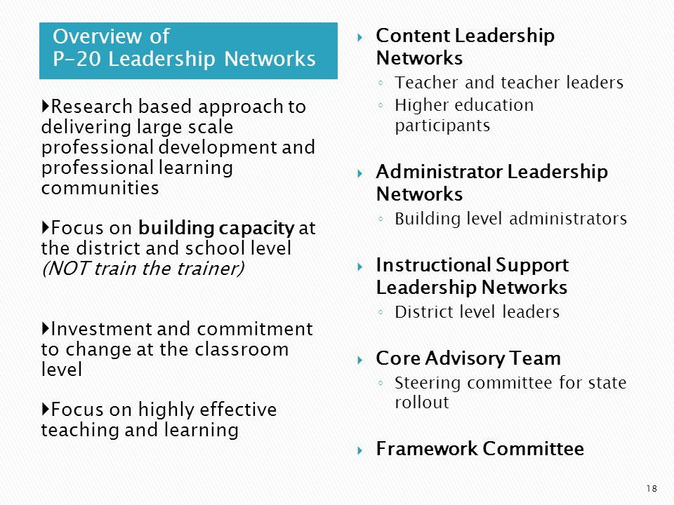Overview of P-20 Leadership Networks 18 Research based approach to delivering large scale professional development and professional learning communiti