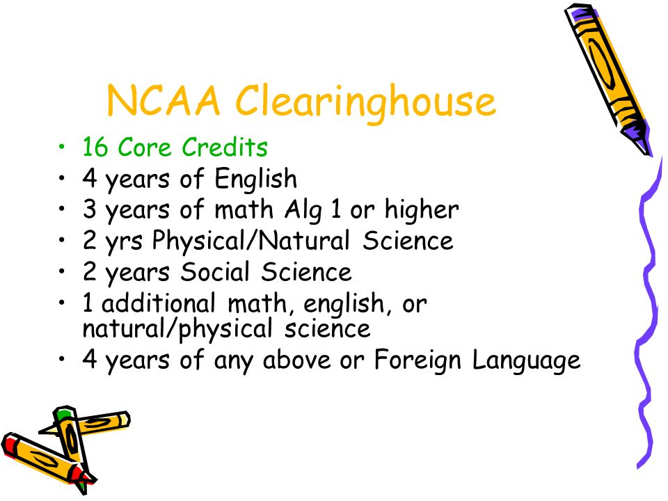 NCAA Clearinghouse 16 Core Credits 4 years of English 3 years of math Alg 1 or higher 2 yrs Physical/Natural Science 2 years Social Science 1 additional math, english, or natural/physical science 4 years of any above or Foreign Language