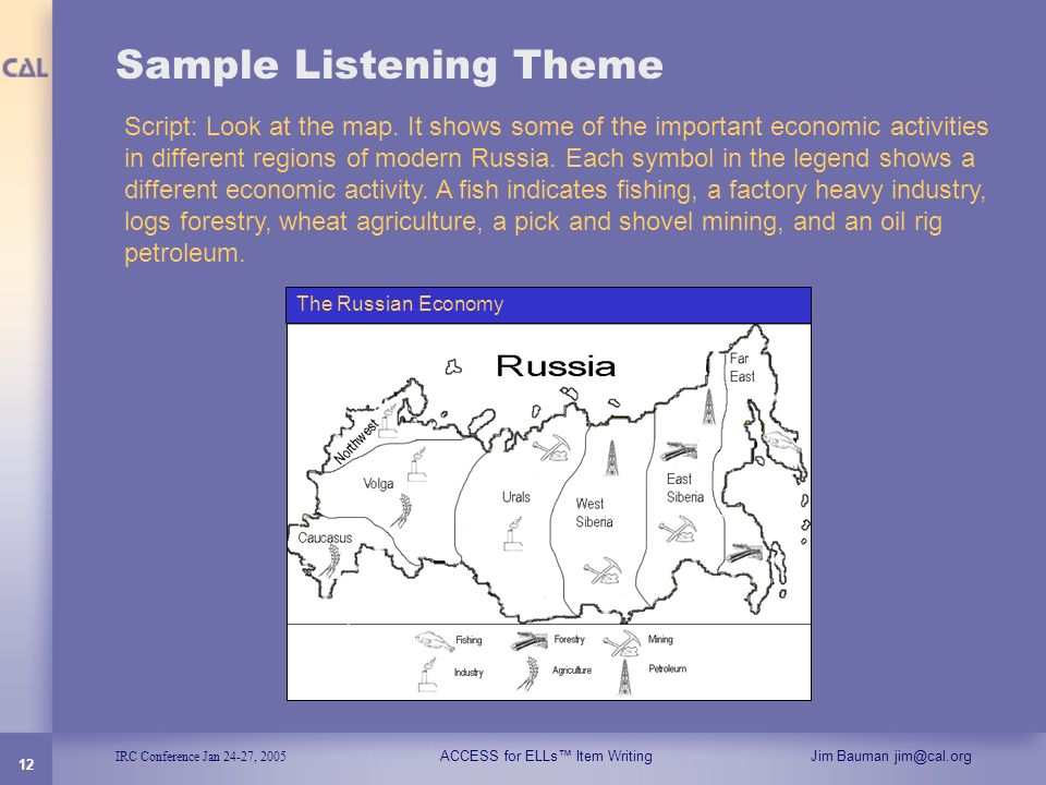 IRC Conference Jan 24-27, 2005 ACCESS for ELLs Item WritingJim Bauman jim@cal.org 12 Sample Listening Theme Script: Look at the map. It shows some of