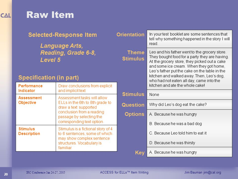 IRC Conference Jan 24-27, 2005 ACCESS for ELLs Item WritingJim Bauman jim@cal.org 20 Raw Item Selected-Response Item Language Arts, Reading, Grade 6-8
