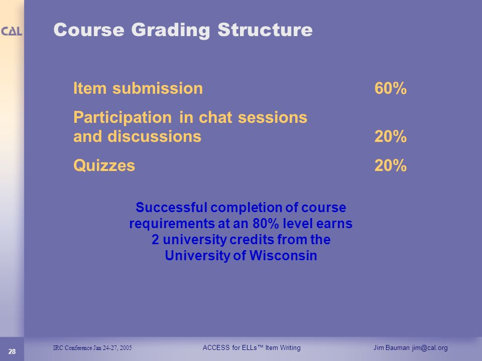 IRC Conference Jan 24-27, 2005 ACCESS for ELLs Item WritingJim Bauman jim@cal.org 28 Course Grading Structure Item submission 60% Participation in cha