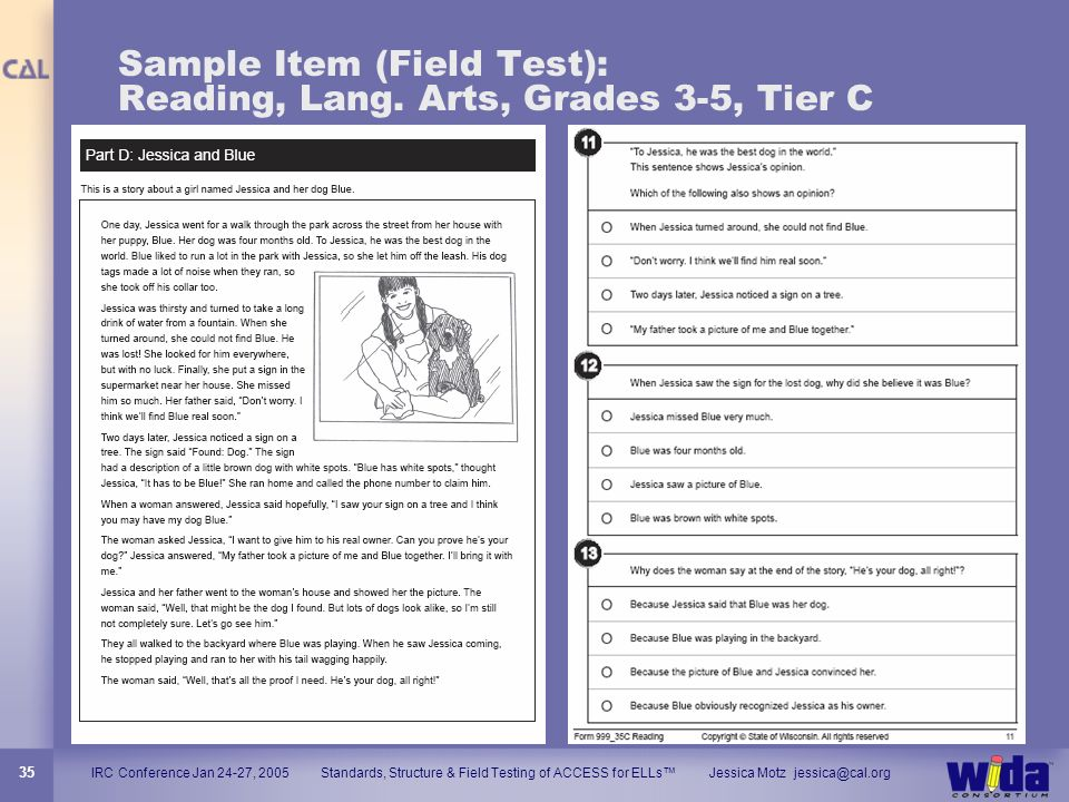 IRC Conference Jan 24-27, 2005 Standards, Structure & Field Testing of ACCESS for ELLs Jessica Motz jessica@cal.org 35 Sample Item (Field Test): Readi
