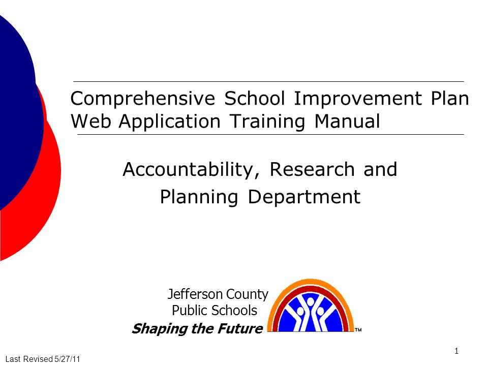 Last Revised 5/27/11Last Revised 7/25/08 1 Comprehensive School Improvement Plan Web Application Training Manual Accountability, Research and Planning Department Jefferson County Public Schools Shaping the Future Last Revised 5/27/11
