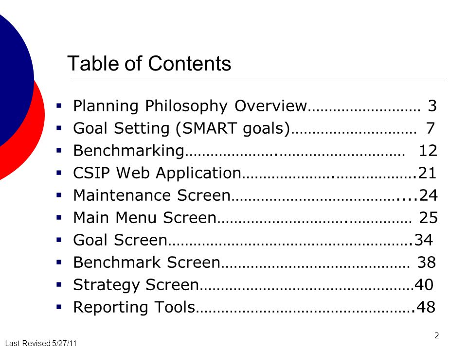 2 Table of Contents Planning Philosophy Overview……………………… 3 Goal Setting (SMART goals)…………………………7 Benchmarking………………….………………………… 12 CSIP Web Application………………….……………….21 Maintenance Screen…………………………………....24 Main Menu Screen………………………….…………… 25 Goal Screen………………………………………………….34 Benchmark Screen……………………………………… 38 Strategy Screen……………………………………………40 Reporting Tools…………………………………………….48