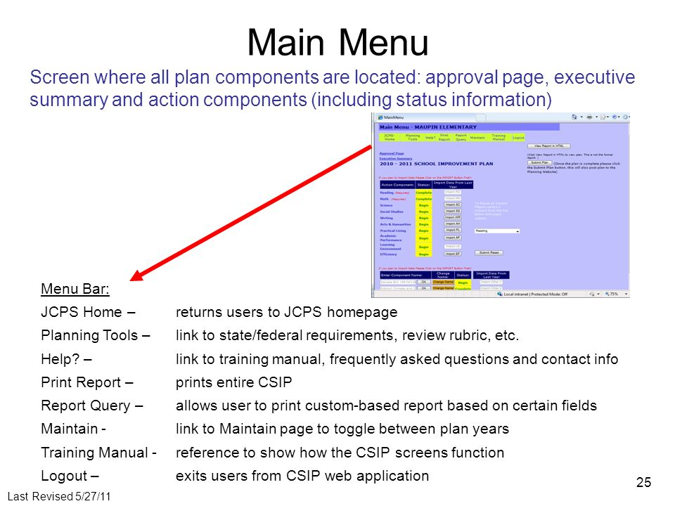Last Revised 5/27/11 25 Main Menu Screen where all plan components are located: approval page, executive summary and action components (including status information) Menu Bar: JCPS Home – returns users to JCPS homepage Planning Tools – link to state/federal requirements, review rubric, etc.
