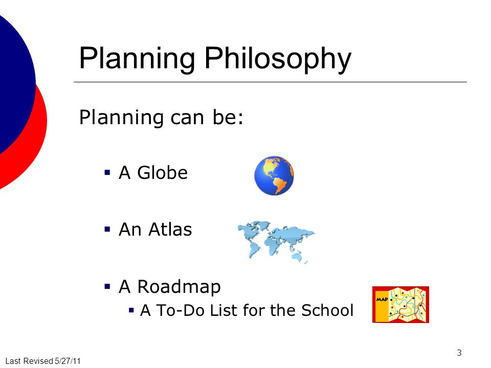 Last Revised 5/27/11 3 Planning Philosophy Planning can be: A Globe An Atlas A Roadmap A To-Do List for the School