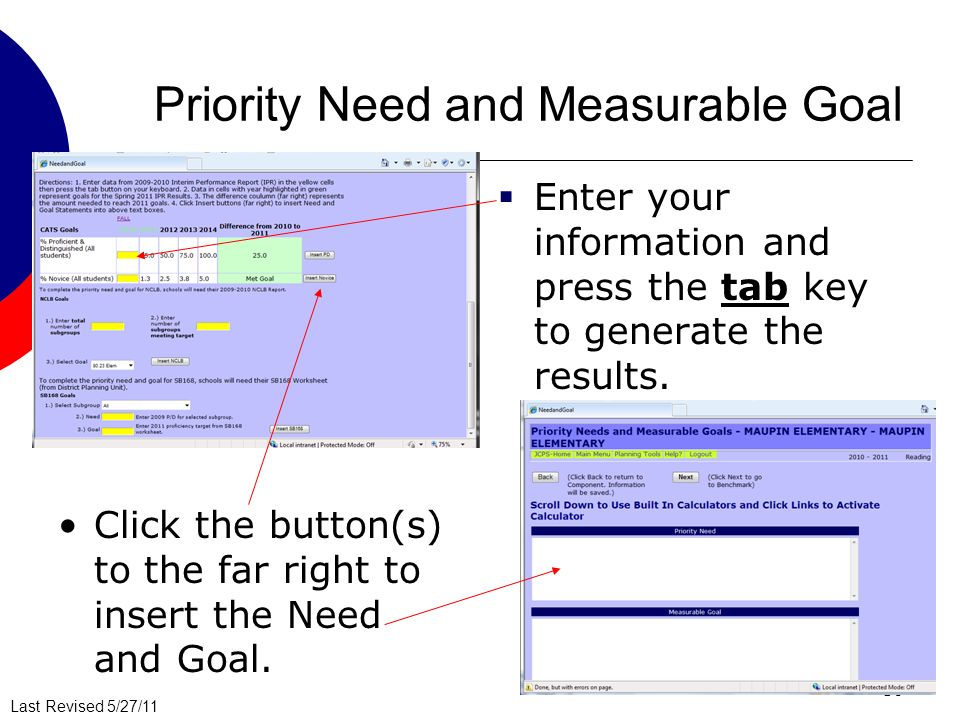 Last Revised 5/27/11 36 Priority Need and Measurable Goal Enter your information and press the tab key to generate the results.