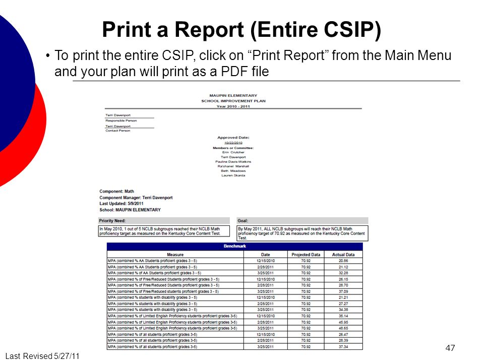 Last Revised 5/27/11 47 Print a Report (Entire CSIP) To print the entire CSIP, click on Print Report from the Main Menu and your plan will print as a PDF file