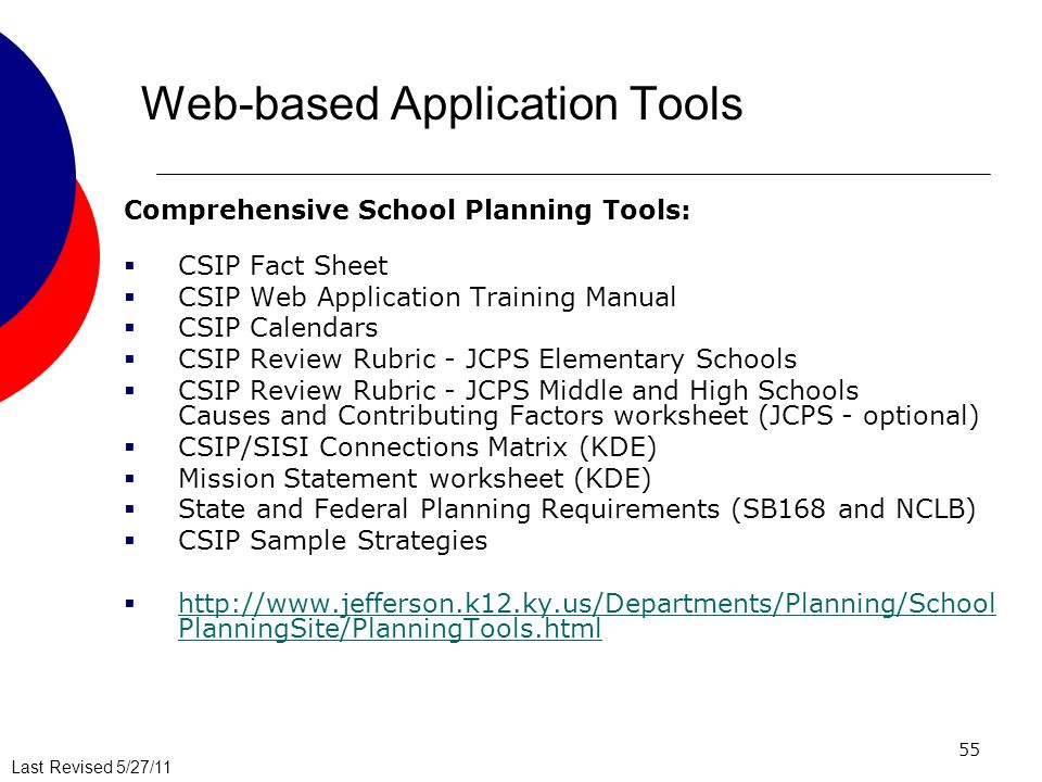 Last Revised 5/27/11 55 Web-based Application Tools Comprehensive School Planning Tools: CSIP Fact Sheet CSIP Web Application Training Manual CSIP Calendars CSIP Review Rubric - JCPS Elementary Schools CSIP Review Rubric - JCPS Middle and High Schools Causes and Contributing Factors worksheet (JCPS - optional) CSIP/SISI Connections Matrix (KDE) Mission Statement worksheet (KDE) State and Federal Planning Requirements (SB168 and NCLB) CSIP Sample Strategies http://www.jefferson.k12.ky.us/Departments/Planning/School PlanningSite/PlanningTools.html http://www.jefferson.k12.ky.us/Departments/Planning/School PlanningSite/PlanningTools.html