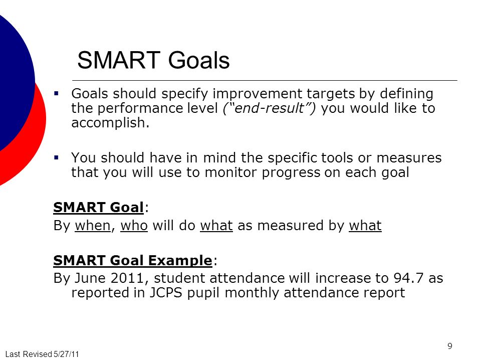 Last Revised 5/27/11 9 SMART Goals Goals should specify improvement targets by defining the performance level (end-result) you would like to accomplish.