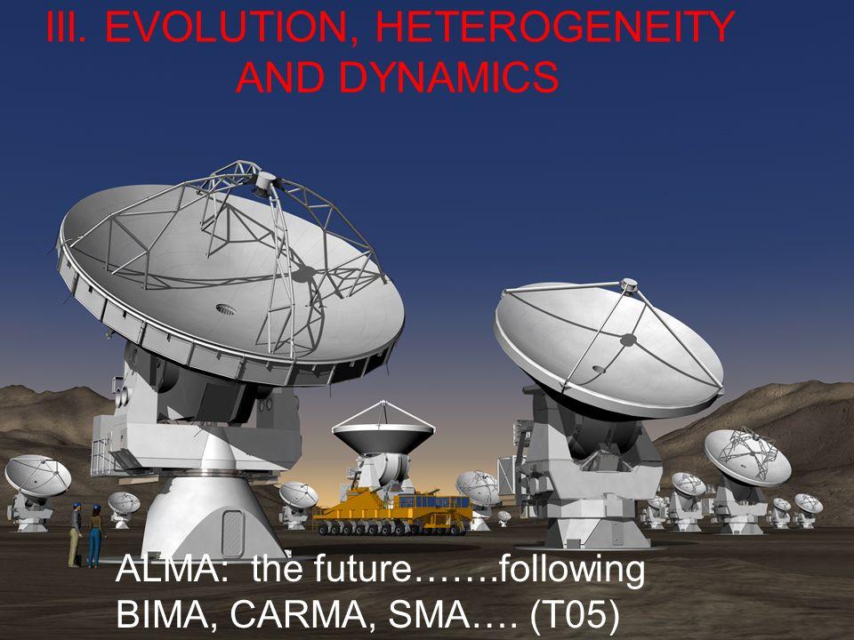 ALMA: the future…….following BIMA, CARMA, SMA…. (T05) III. EVOLUTION, HETEROGENEITY AND DYNAMICS