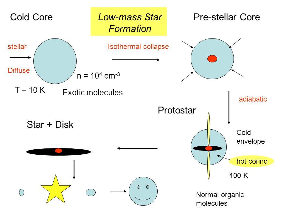 Cold CorePre-stellar Core Protostar Star + Disk T = 10 K n = 10 4 cm -3 Isothermal collapse adiabatic hot corino 100 K stellar Diffuse Cold envelope L
