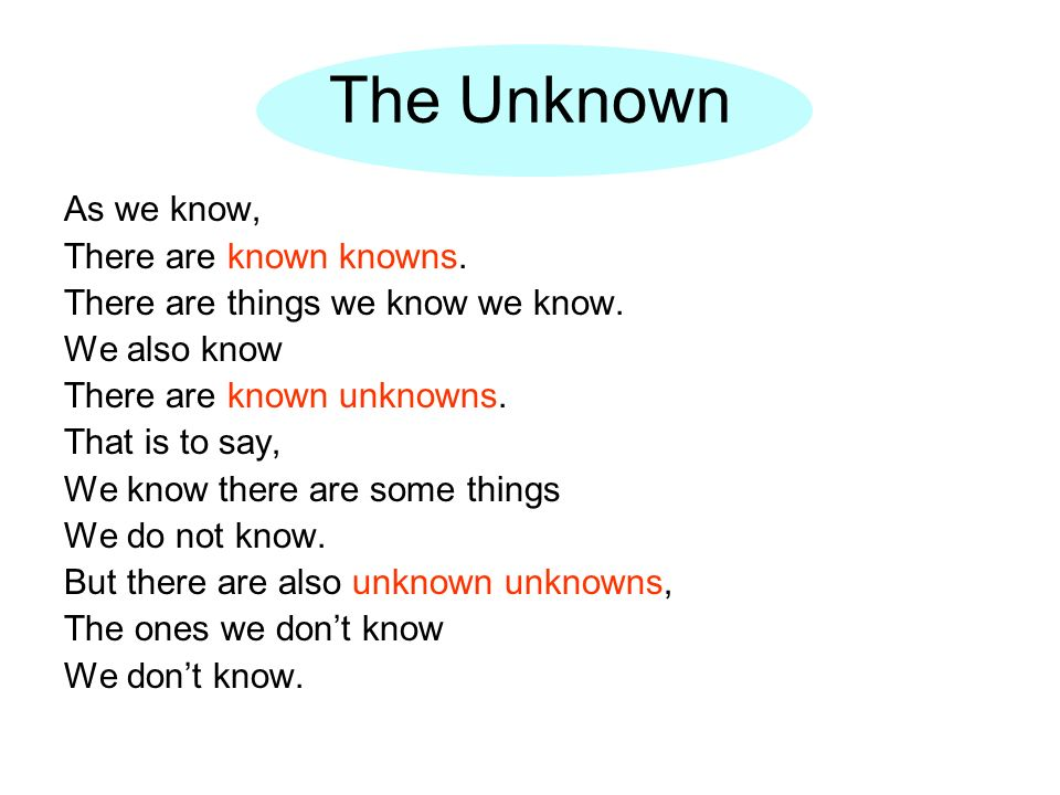 The Unknown As we know, There are known knowns. There are things we know we know. We also know There are known unknowns. That is to say, We know there