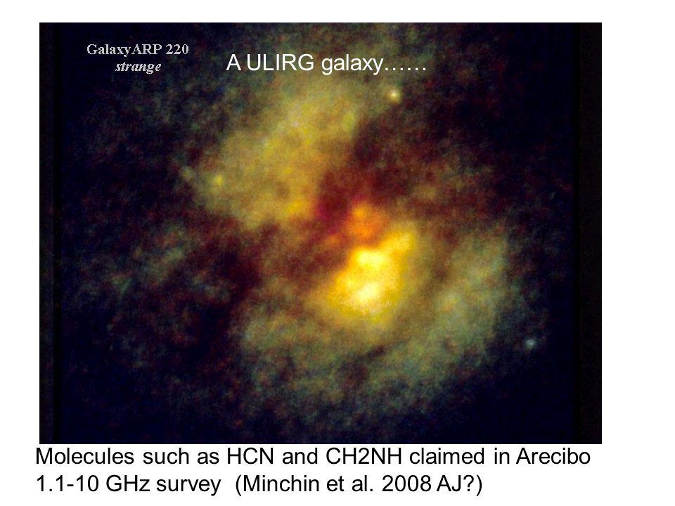 Molecules such as HCN and CH2NH claimed in Arecibo 1.1-10 GHz survey (Minchin et al. 2008 AJ?) A ULIRG galaxy……