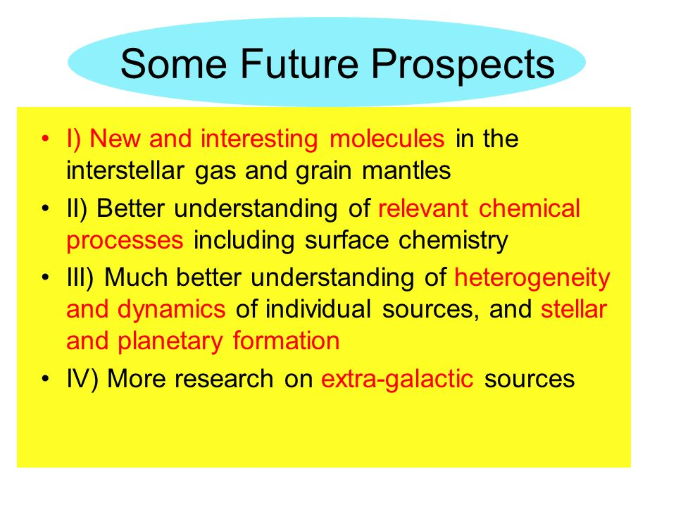 Some Future Prospects I) New and interesting molecules in the interstellar gas and grain mantles II) Better understanding of relevant chemical process