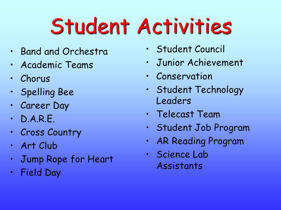 Student Activities Band and Orchestra Academic Teams Chorus Spelling Bee Career Day D.A.R.E. Cross Country Art Club Jump Rope for Heart Field Day Stud