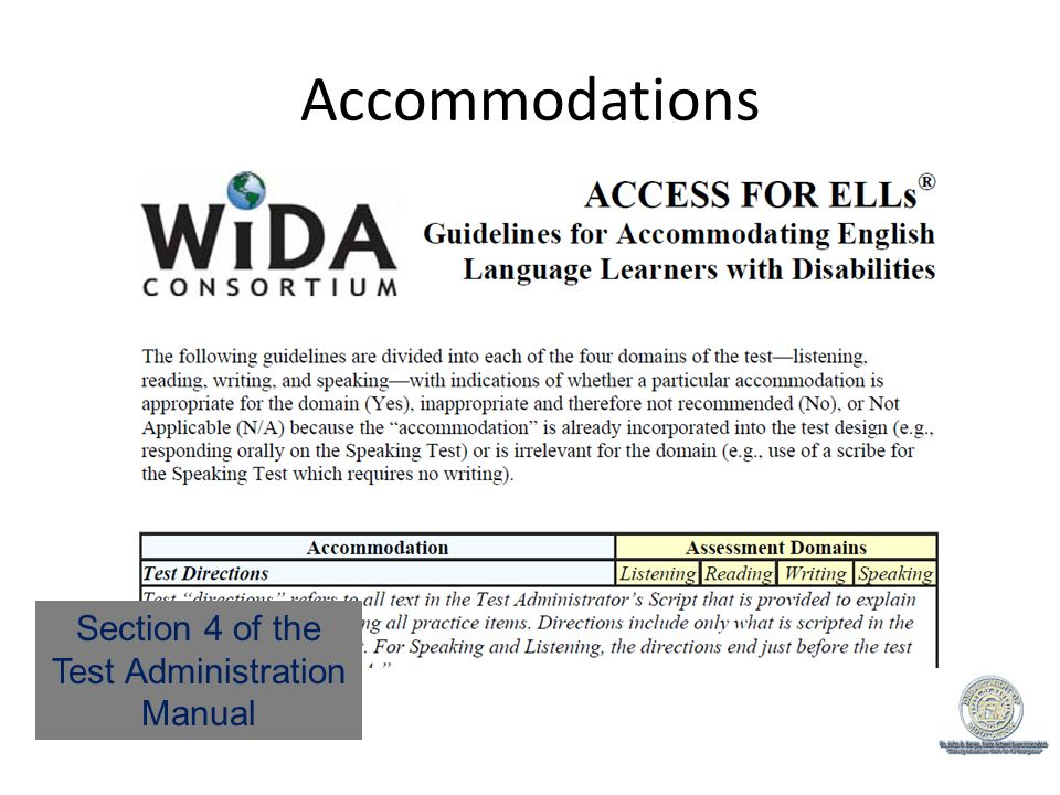 Accommodations Section 4 of the Test Administration Manual