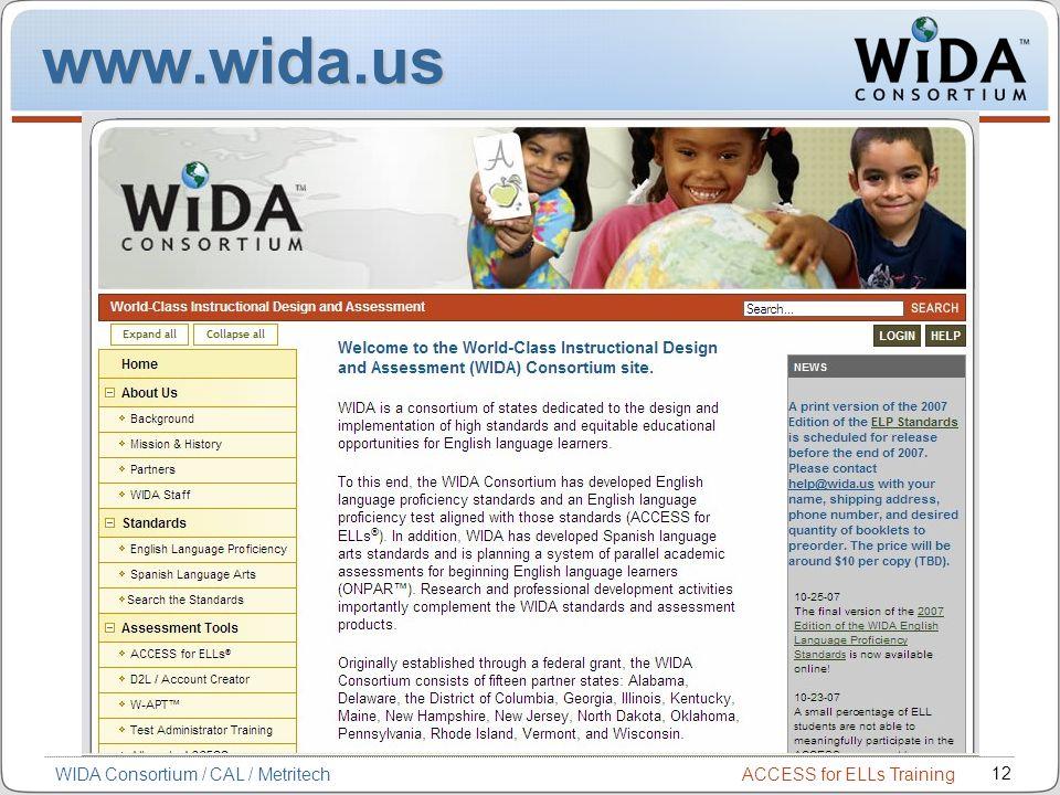 ACCESS for ELLs Training 12 WIDA Consortium / CAL / Metritech www.wida.us