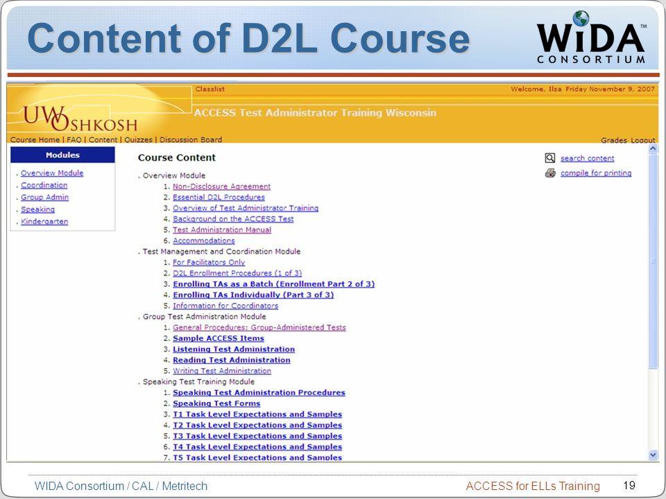 ACCESS for ELLs Training 19 WIDA Consortium / CAL / Metritech Content of D2L Course