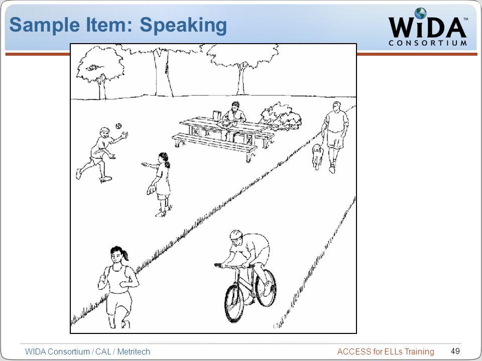 ACCESS for ELLs Training 49 WIDA Consortium / CAL / Metritech Sample Item: Speaking