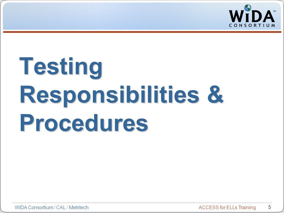 ACCESS for ELLs Training 5 WIDA Consortium / CAL / Metritech Testing Responsibilities & Procedures