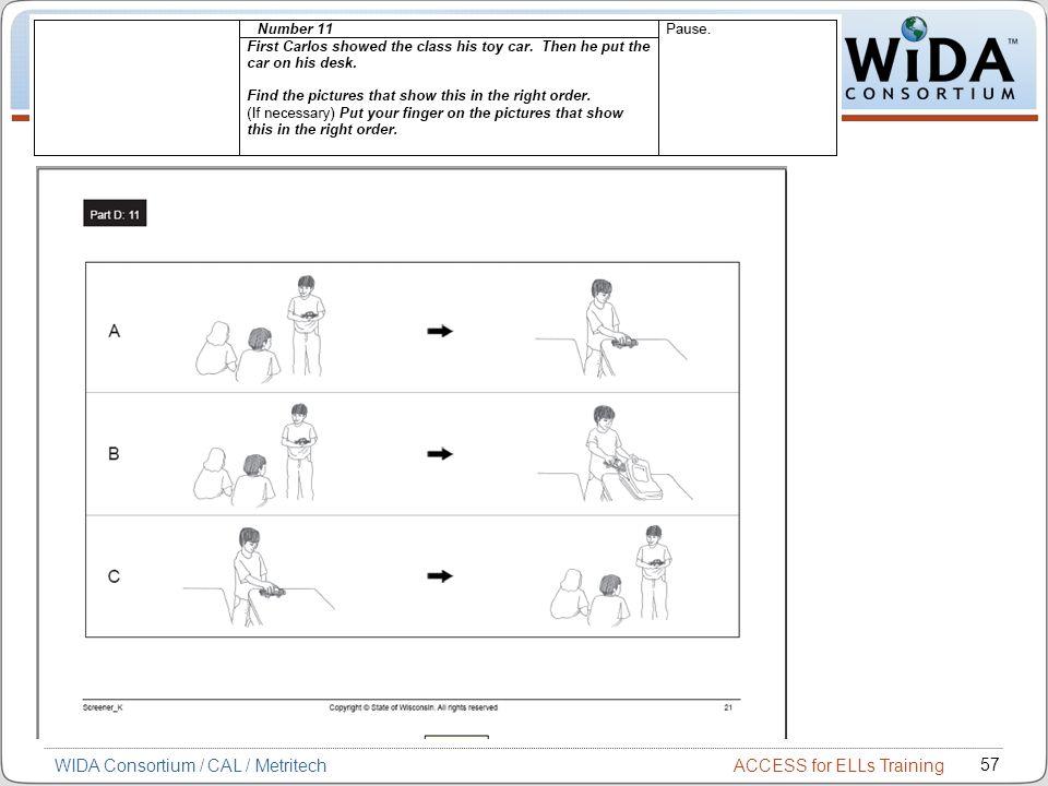ACCESS for ELLs Training 57 WIDA Consortium / CAL / Metritech