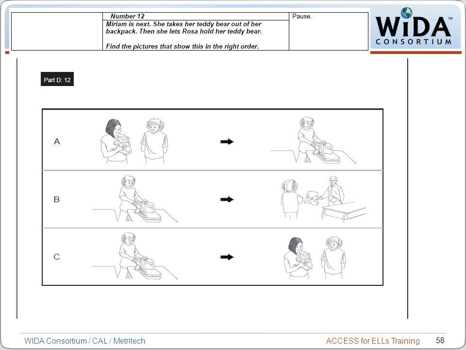 ACCESS for ELLs Training 58 WIDA Consortium / CAL / Metritech