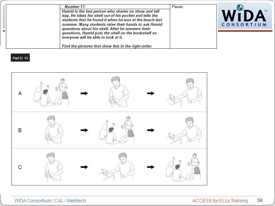 ACCESS for ELLs Training 59 WIDA Consortium / CAL / Metritech