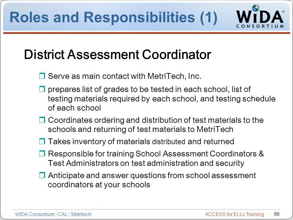 ACCESS for ELLs Training 66 WIDA Consortium / CAL / Metritech District Assessment Coordinator Serve as main contact with MetriTech, Inc. prepares list