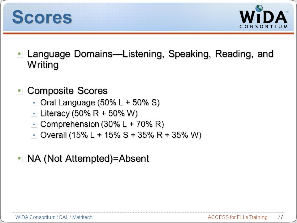 ACCESS for ELLs Training 77 WIDA Consortium / CAL / Metritech Scores Language DomainsListening, Speaking, Reading, and Writing Composite Scores Oral Language (50% L + 50% S) Literacy (50% R + 50% W) Comprehension (30% L + 70% R) Overall (15% L + 15% S + 35% R + 35% W) NA (Not Attempted)=Absent