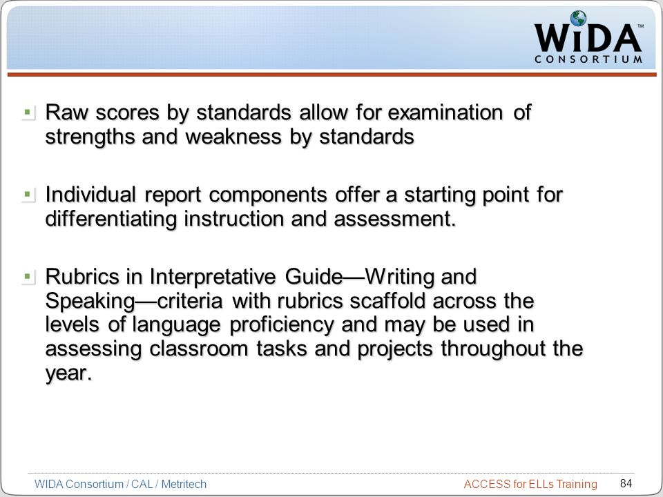 ACCESS for ELLs Training 84 WIDA Consortium / CAL / Metritech Raw scores by standards allow for examination of strengths and weakness by standards Individual report components offer a starting point for differentiating instruction and assessment.