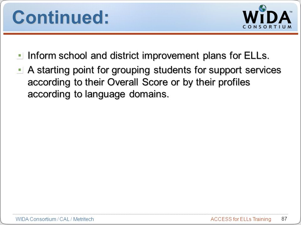 ACCESS for ELLs Training 87 WIDA Consortium / CAL / Metritech Continued: Inform school and district improvement plans for ELLs. A starting point for g