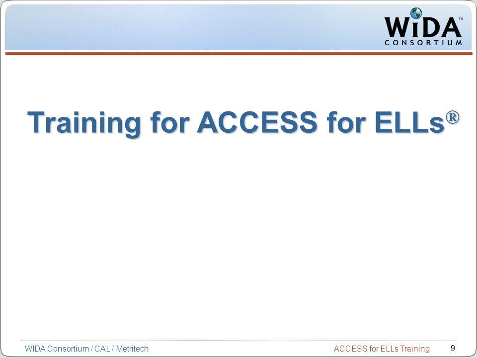 ACCESS for ELLs Training 9 WIDA Consortium / CAL / Metritech Training for ACCESS for ELLs ®